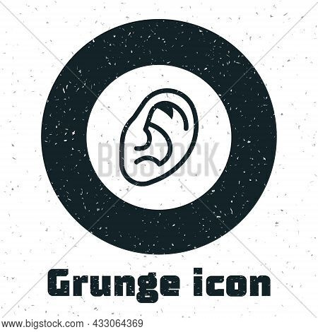 Grunge Ear Listen Sound Signal Icon Isolated On White Background. Ear Hearing. Monochrome Vintage Dr