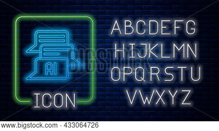 Glowing Neon Chat Bot Icon Isolated On Brick Wall Background. Chatbot Icon. Neon Light Alphabet. Vec