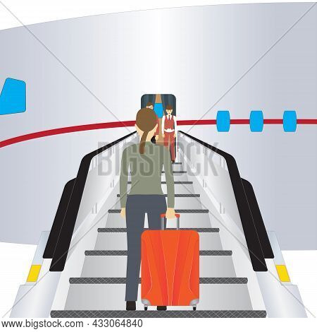 The Passenger Climbs The Plane. The Passenger Is Preparing For The Flight In The Plane. Travel.