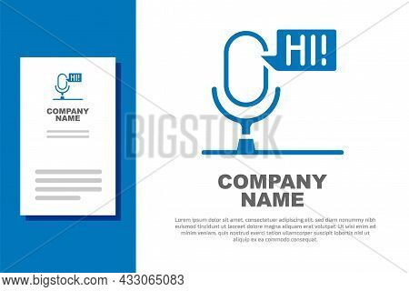 Blue Microphone Voice Device Icon Isolated On White Background. Microphone Interpreter And Alphabet