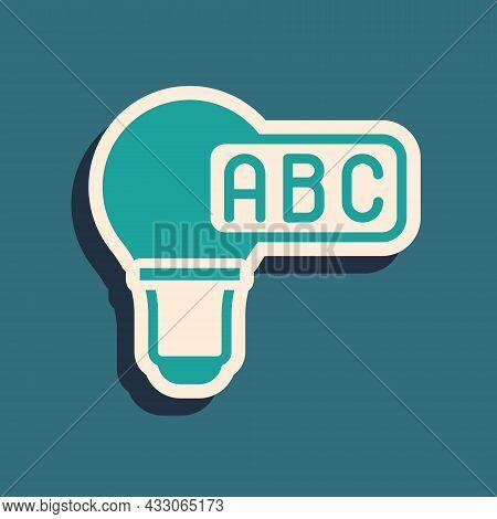 Green Creative Lamp Light Idea Icon Isolated On Green Background. Concept Ideas Inspiration, Inventi
