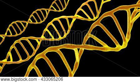 This Scene Viewed Under A Microscope The Molecules Dna On A The Dark Background. The Concept Molecul