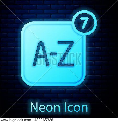 Glowing Neon Online Translator Icon Isolated On Brick Wall Background. Foreign Language Conversation