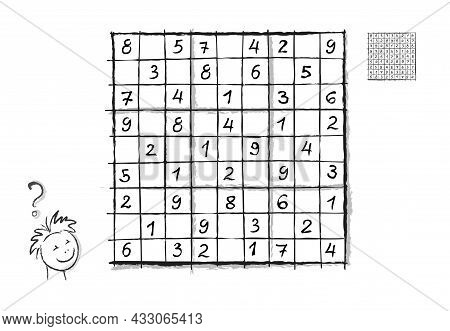 Logic Sudoku Puzzle Game For Children And Adults. Hand-drawn Illustration. Brain Teaser Book. Write