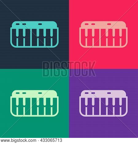 Pop Art Music Synthesizer Icon Isolated On Color Background. Electronic Piano. Vector