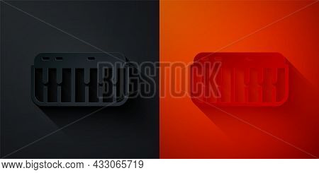 Paper Cut Music Synthesizer Icon Isolated On Black And Red Background. Electronic Piano. Paper Art S