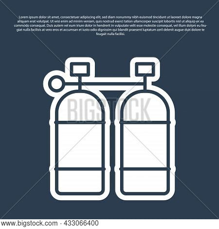 Blue Line Aqualung Icon Isolated On Blue Background. Oxygen Tank For Diver. Diving Equipment. Extrem