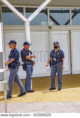 Venice, Italy - July 8, 2021: The Airport Marco Polo In Venice Is Under Specal Observation By Police