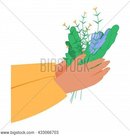 Herbal Medicine As Alternative Homeopathy For Healthcare Tiny Person Concept. Nature Plant And Flowe