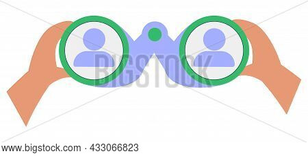 Hand Gesture Symbolizing Binoculars, Magnification, Looking Into The Distance, Point Of View. Vision
