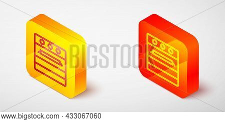 Isometric Line Oven Icon Isolated On Grey Background. Stove Gas Oven Sign. Yellow And Orange Square