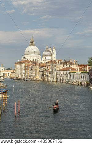 Venice, Italy - July 1, 2021: View To Canale Grande From Bridge Academia In Afternoon Sun In Venice,
