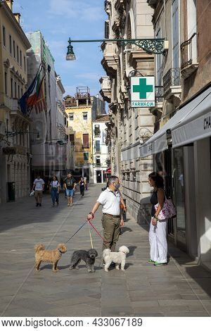 Venice, Italy - July 3, 2021: Dog Sitter With 3 Poodles Walks With The Dogs In Early Morning Throug