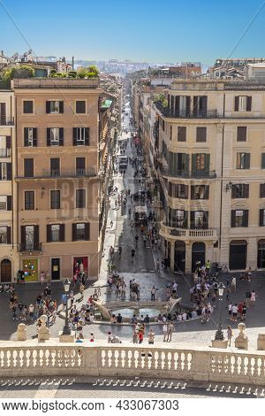 Rome, Italy - July 31, 2021: People Enjoy Spanish Stairs On Piazza Di Spagna In Rome. Spanish Stairs
