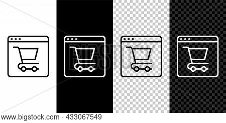 Set Line Online Shopping On Screen Icon Isolated On Black And White, Transparent Background. Concept