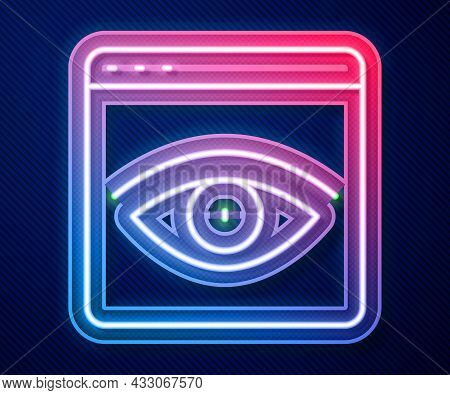 Glowing Neon Line Browser Incognito Window Icon Isolated On Blue Background. Vector
