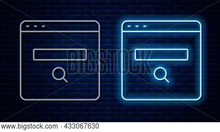 Glowing Neon Line Search Engine Icon Isolated On Brick Wall Background. Vector