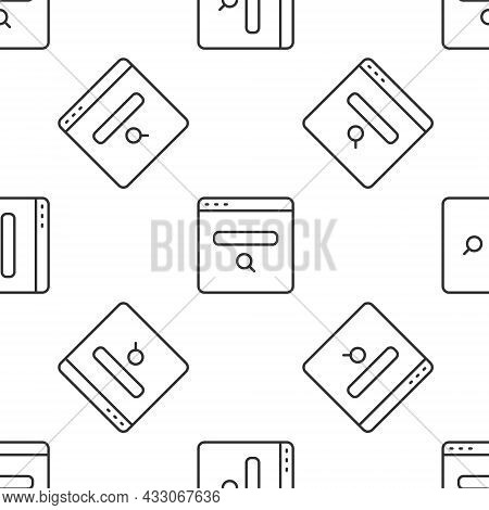 Grey Line Search Engine Icon Isolated Seamless Pattern On White Background. Vector
