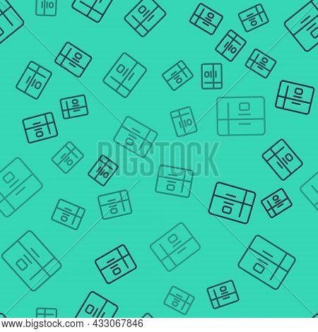 Black Line Refrigerator Icon Isolated Seamless Pattern On Green Background. Fridge Freezer Refrigera