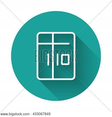 White Line Refrigerator Icon Isolated With Long Shadow Background. Fridge Freezer Refrigerator. Hous