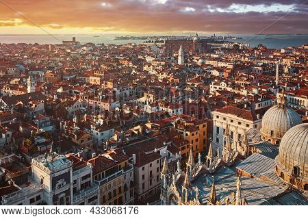 Panoramic view at Venice Italy. Sunset over old town and Saint Mark's square.