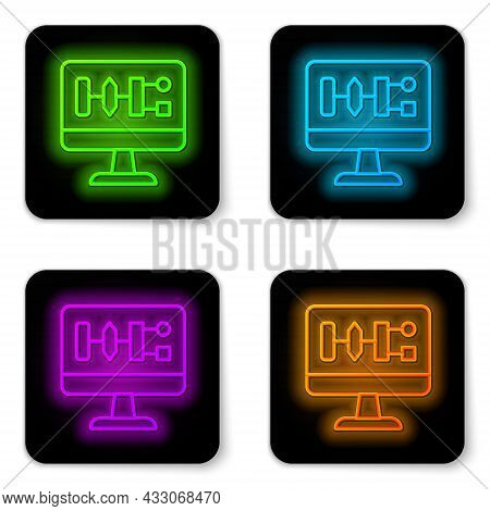 Glowing Neon Line Algorithm Icon Isolated On White Background. Algorithm Symbol Design From Artifici