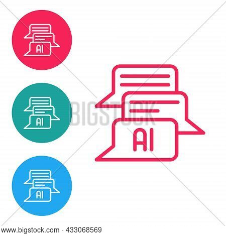 Red Line Chat Bot Icon Isolated On White Background. Chatbot Icon. Set Icons In Circle Buttons. Vect