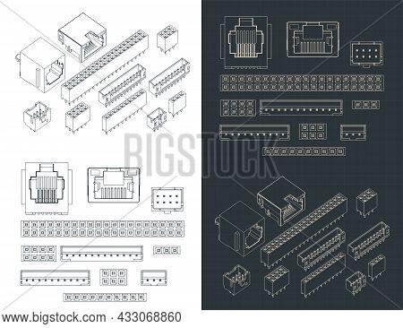 Stylized Vector Illustrations Of Blueprints Of Connectors Th Mini Set