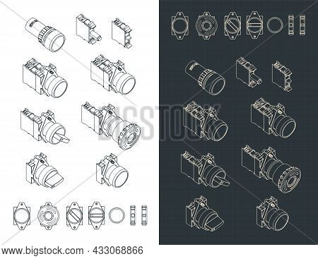 Stylized Vector Illustration Of Blueprints Of Control Switches