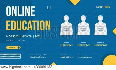 Website Banner Template With Three Speakers And Blue Yellow Background Suitable For Online Education