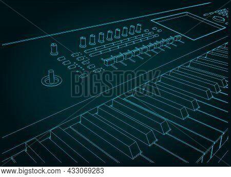 Synthesizer Keyboard Close-up Illustration