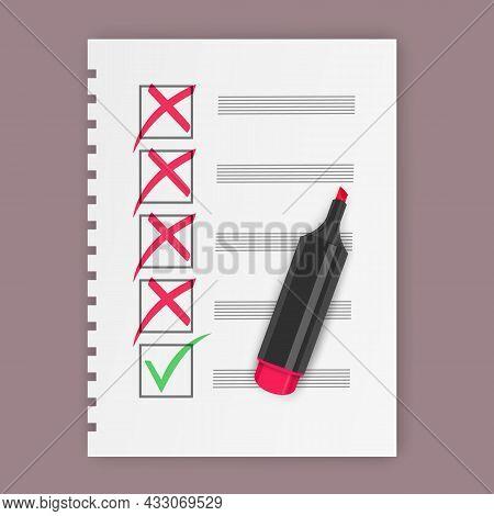 Yes And No Check Marks, Green Checkmark Ok And Red No Icons. Symbols, Check Mark