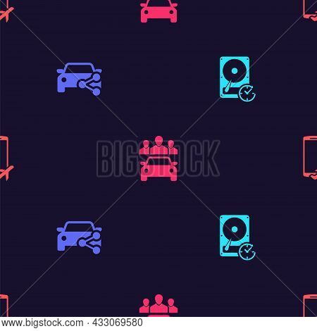 Set Hard Disk Drive With Clockwise, Car Sharing, And Flight Mode The Mobile On Seamless Pattern. Vec