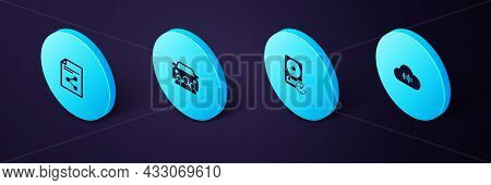 Set Isometric Music Streaming Service, Hard Disk Drive With Clockwise, Car Sharing And Share File Ic