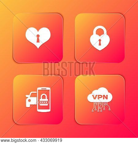 Set Heart With Keyhole, Castle In The Shape Of Heart, Smart Car Security System And Cloud Vpn Interf
