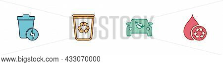 Set Lightning With Trash Can, Recycle Bin Recycle, Eco Car Drive Leaf And Clean Aqua Icon. Vector