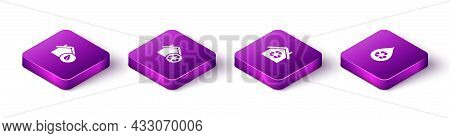 Set Isometric Eco Friendly House, House With Recycling, And Recycle Clean Aqua Icon. Vector