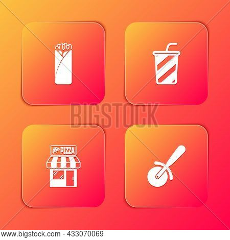 Set Burrito, Glass With Water, Pizzeria Building Facade And Pizza Knife Icon. Vector