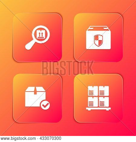 Set Search Package, Delivery Box Security Shield, Package With Check Mark And Cardboard Boxes On Pal