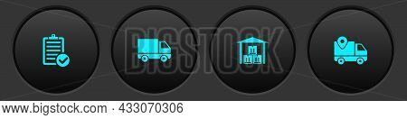Set Verification Of Delivery List, Delivery Cargo Truck Vehicle, Warehouse And Tracking Icon. Vector