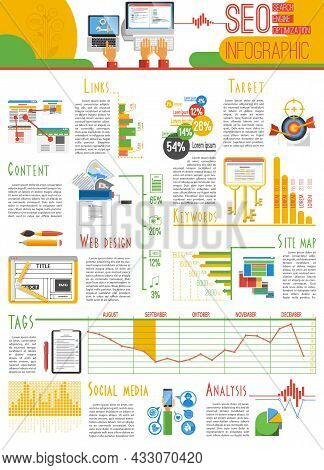Search Engine Optimization For Web Pages Visibility Results And Analysis Infograhic Report Presentat