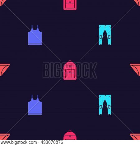 Set Pants, Sleeveless T-shirt, Backpack And Men Underpants On Seamless Pattern. Vector