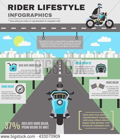 Rider Infographics Set With Biker On Motorcycle On The Road Isolated Vector Illustration