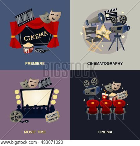Cinema Design Concept Set With Cinematography Movie Premiere Flat Icons Isolated Vector Illustration