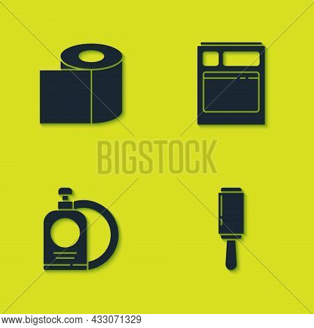 Set Toilet Paper Roll, Adhesive Roller, Dishwashing Liquid Bottle And Plate And Kitchen Dishwasher M