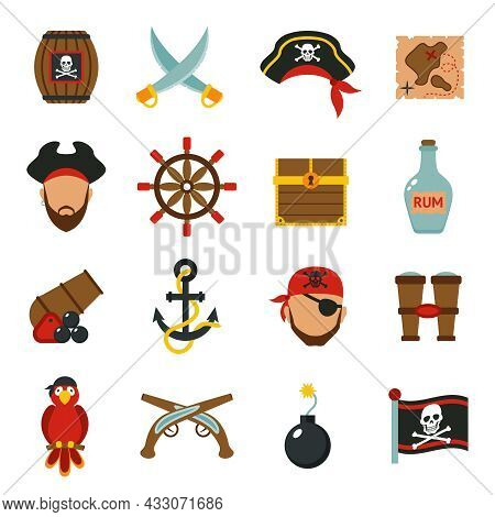 Pirate Accessories Symbols Flat Icons Collection With Wooden Treasure Chest And Jolly Roger Flag Abs