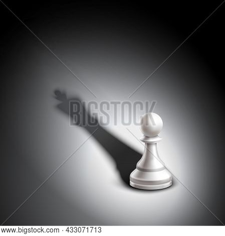 Realistic Chess Pawn Casting King Winner Strategy Metaphor Vector Illustration