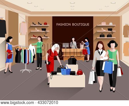 Fashion Boutique With Young Women Consumers And Fashion Clothing Flat Vector Illustration