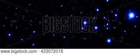 Night Starry Sky With Bright Blue Cosmic Stars