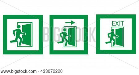 Emergency Exit Icon In Frame. Green Running Man And Exit Door Sign On White Background. Vector Illus